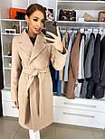 Женское качественное фабричное демисезонное шерстяное пальто с поясом (в расцветках), фото 10
