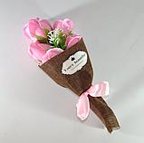Подарочный букет молочно-белых роз ручной работы из мыла, фото 6