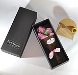 Подарочный букет молочно-белых роз ручной работы из мыла, фото 8