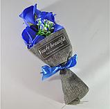Подарочный букет молочно-белых роз ручной работы из мыла, фото 9