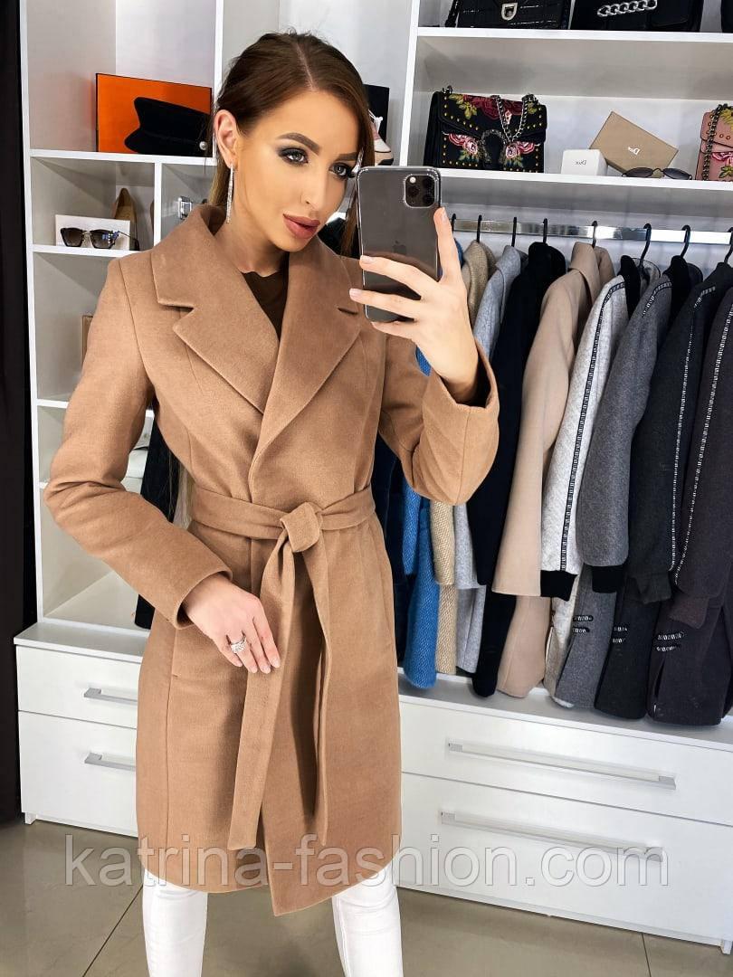 Женское качественное фабричное демисезонное шерстяное пальто с поясом (в расцветках)