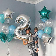"""Повітряна кулька срібло цифра 2, 40"""" (102 см) Flexmetal Іспанія 1427"""