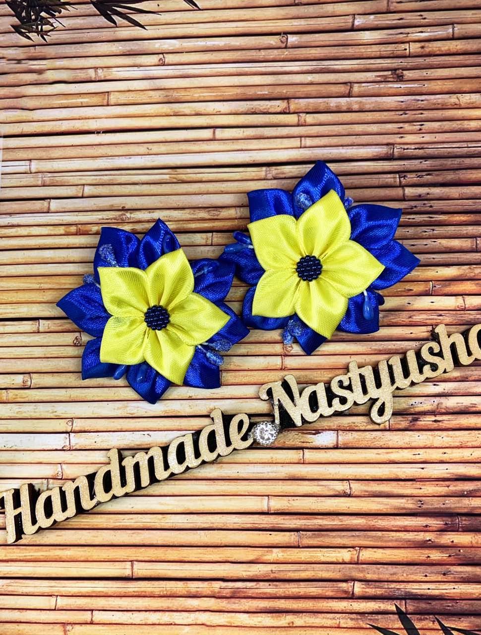 Гумка для волосся синій з жовтим 00097