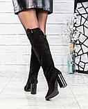 Сапоги женские с металлическим декором черные, фото 3