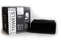 Полотенце одноразовое Etto Black Collection 40х70, спанлейс, пл. 60, гладкие, 50 шт.