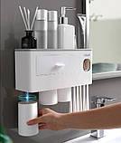 Многофункциональный Органайзер для хранения Ванных Принадлежностей, Косметики с Дозатором для зубной пасты, фото 2