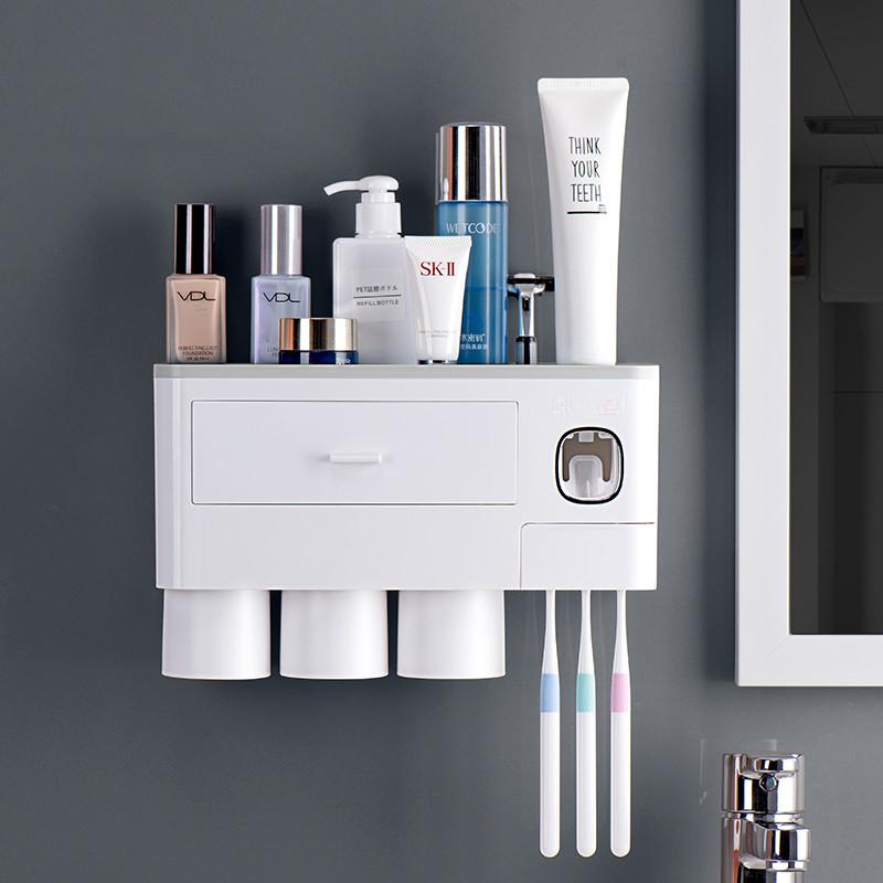 Многофункциональный Органайзер для хранения Ванных Принадлежностей, Косметики с Дозатором для зубной пасты