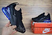 Мужские кроссовки Nike Air Max 270 черные/ синяя пятка