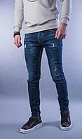 Мужские джинсы темно-синие с потертостями А-4551, фото 1