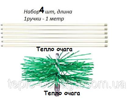 Оборудование для чистки дымохода снизу (4 ручки,щетка)