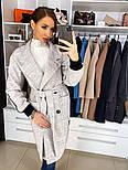 Жіноче якісне двобортні вовняне пальто з відкладним коміром, лампасами і поясом (кольори), фото 10