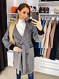 Жіноче якісне двобортні вовняне пальто з відкладним коміром, лампасами і поясом (кольори), фото 6