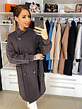 Жіноче якісне двобортні вовняне пальто з відкладним коміром, лампасами і поясом (кольори), фото 2