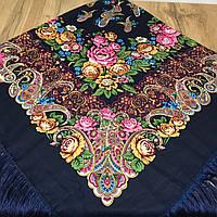 Стильный  платок для девушек синего цвета(135х135см, синий, 80%-шерсть), фото 1