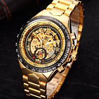 Winner action золотистые с золотистым циферблатом мужские механические часы скелетон, фото 1