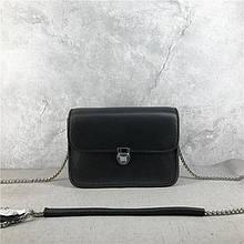 Мини сумочка цепочка со вставкой на плечо / натуральная кожа (964) Черный