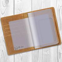 Дизайнерська шкіряна обкладинка-органайзер для документів рижого кольору з вкладенням ПВХ
