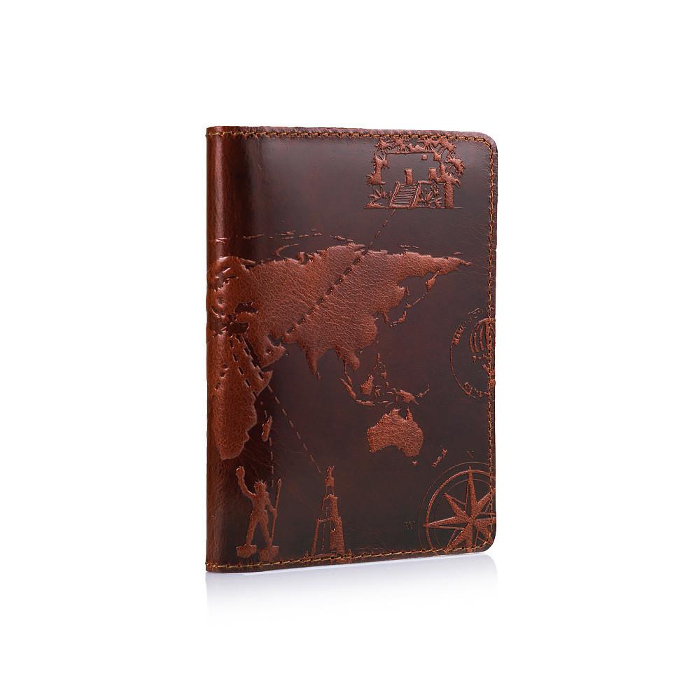 """Шкіряне дизайнерське портмоне для документів коньячного кольору, колекція """"7 Wonders of the World"""", фото 3"""