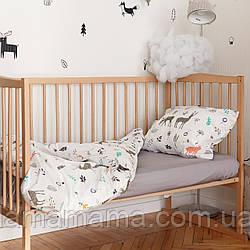 Комплект детского хлопкового постельного белья (3 предмета) Дикий лес MagBaby