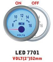Вольтметр 7701 LED стрелочный диаметр 52мм.