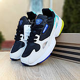 Женские кроссовки Adidas Falcon чёрные с бирюзой, фото 3