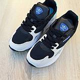 Женские кроссовки Adidas Falcon чёрные с бирюзой, фото 4