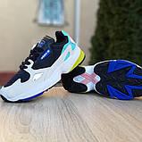 Женские кроссовки Adidas Falcon чёрные с бирюзой, фото 5