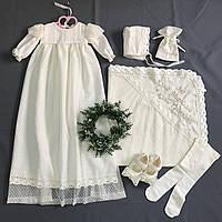 Комплект на хрещення для дівчинки, 4 предмети (сукня, крижма, шапочка, мішечок)