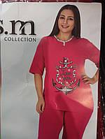 Женская  пижама большого размера, 100%хлопок, производитель Турция,, размер 2XL-4XL. Футболка с бриджами.