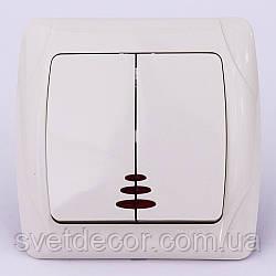 Выключатель двухклавишный VIKO Carmen с подсветкой скрытой установки крем