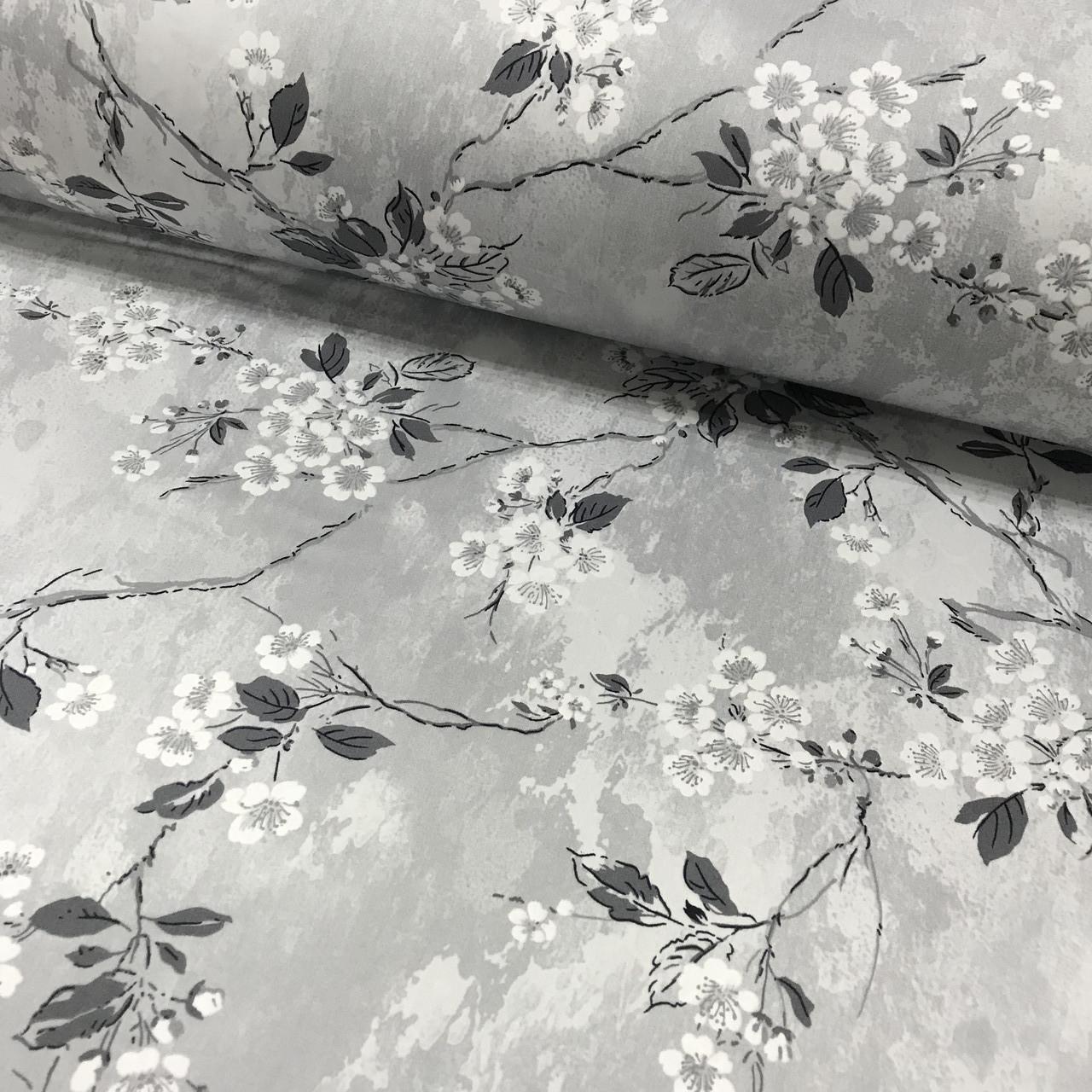 Сатин (ТУРЦИЯ шир. 2,4 м) цветы на веточках на сером ОТРЕЗ (0.7*2.4)