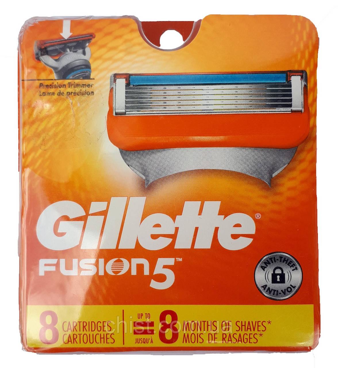 Gillette Fusion сменные картриджи (8 шт) USA