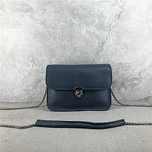 Мини сумочка цепочка со вставкой на плечо / натуральная кожа #964 Синий