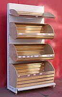 Торгові хлібні стелажі «Колумб» 200х100 див., 4 лотки для хлібобулочних виробів, Б/у, фото 1