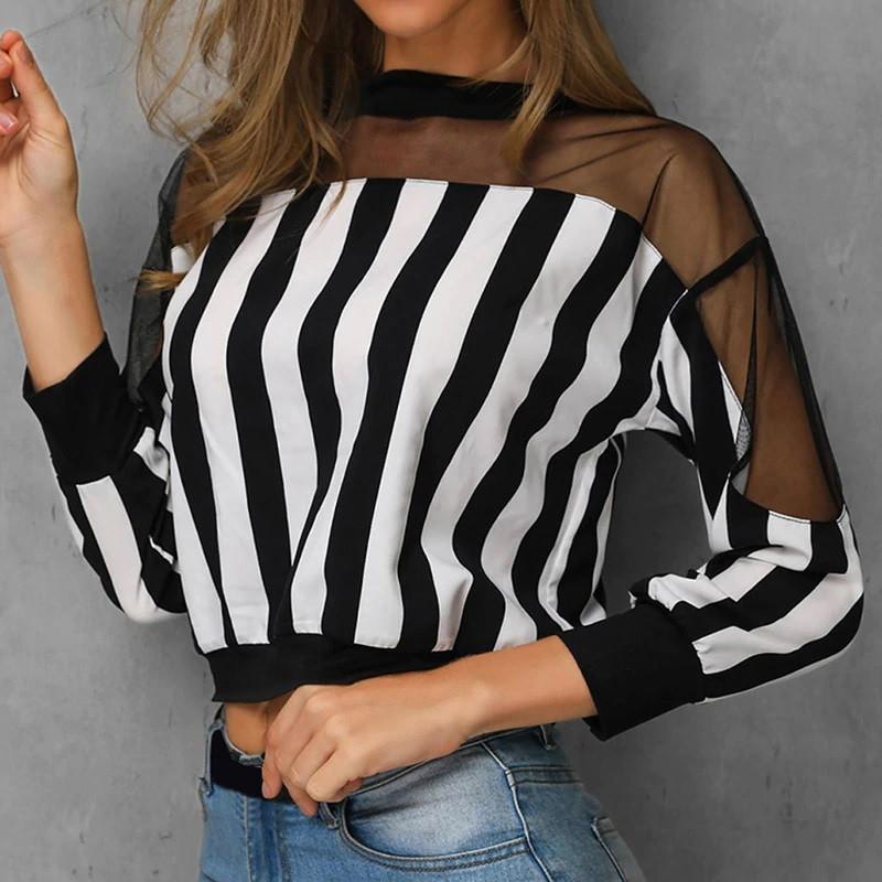 Смугаста блузка з прозорими плечима (42-46)