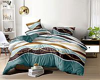 Двуспальный комплект постельного белья с евро простыней «Морская волна» из бязи голд