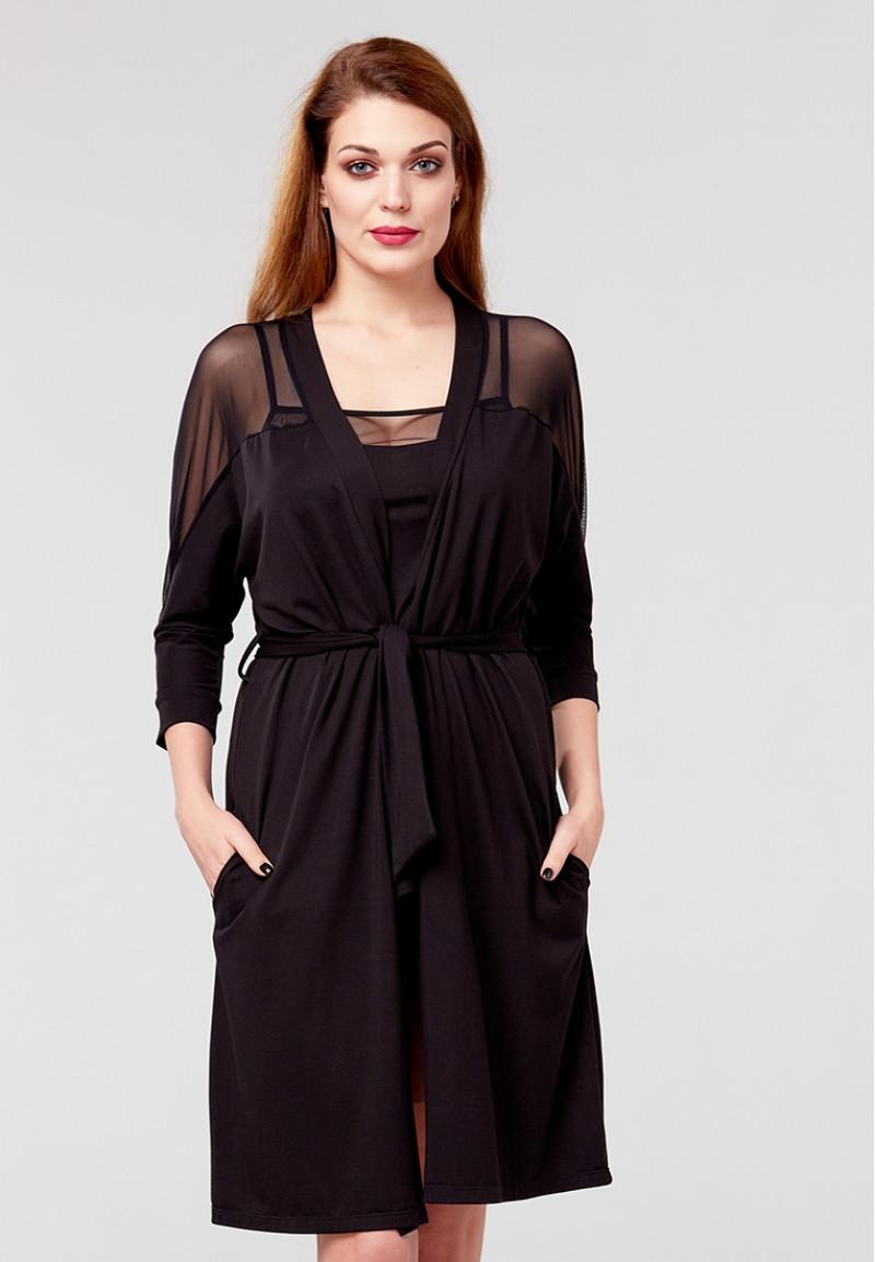 Халат женский черный Ora 100520/2 модал