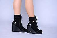 Женские зимние замшевые ботинки на платформе
