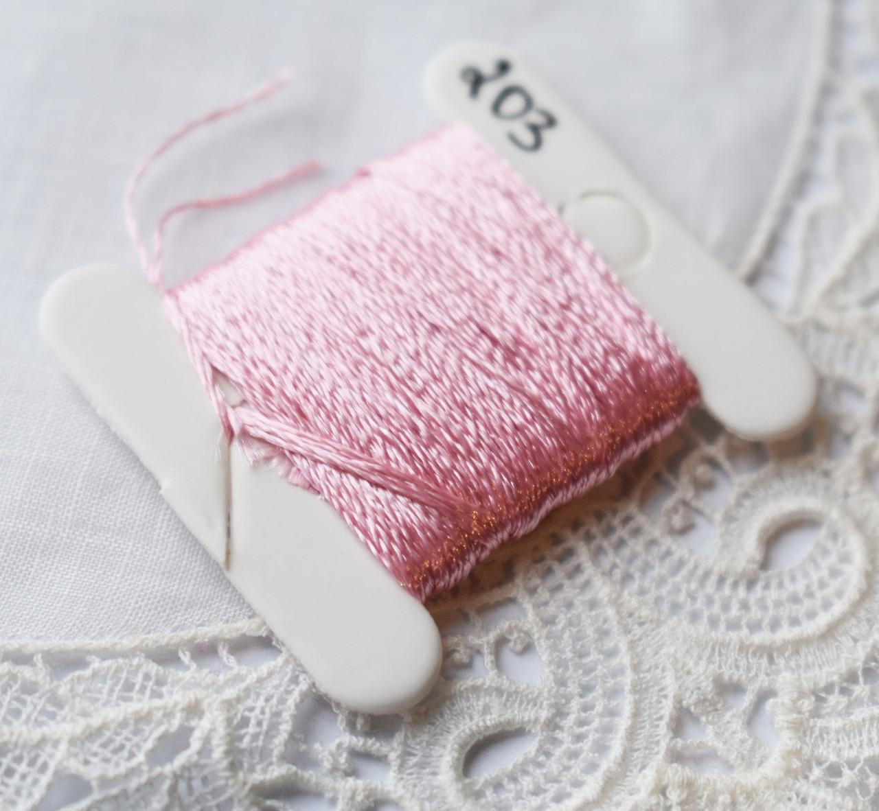 Мулине имитация шелка, 4м, 6 сложений, бледно розовый