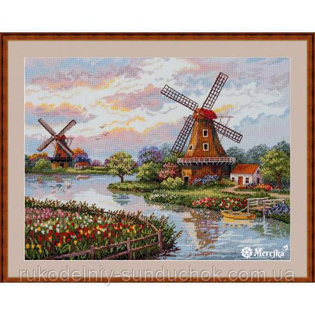 Набір для вишивання хрестом Мережка До-167 Голландські вітряки