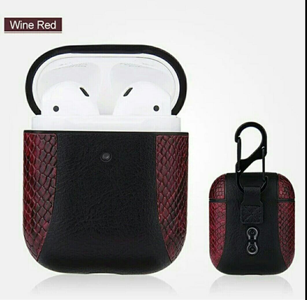 Противоударный чехол - Airpods Apple. Пластик + кожа (черный и бордовый)