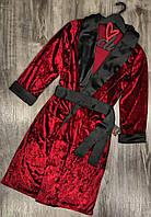 Велюровый халат в английском стиле 046-бордо.