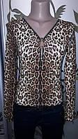 Женская леопардовая кофта с молнией, 40-42