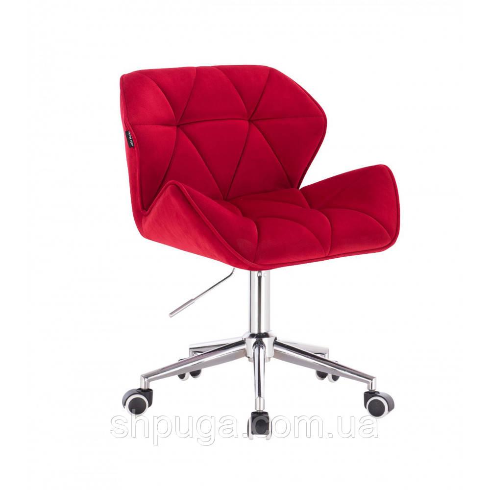 Кресло косметическое HR111  красный велюр