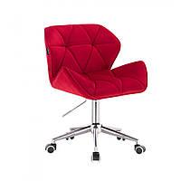 Кресло косметическое HR111  красный велюр, фото 1
