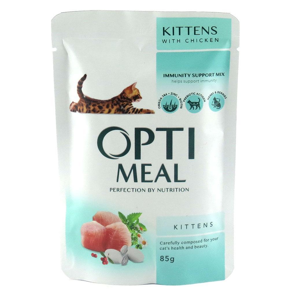 Влажный корм для котят Optimeal Kittens с курицей блок 85 г*12 шт.