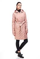 Удлиненная женская куртка стеганое пальто до колена плащевое пальто цвет кэмел, размер 42-48