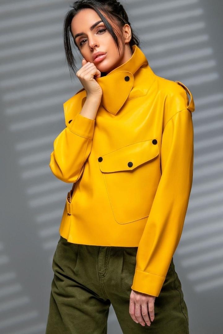 Стильный куртка - косуха из эко-кожи