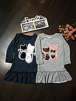 Платье детское с кошечкойи единорогом с воланом