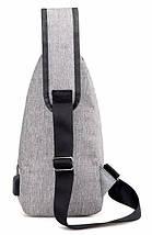 Сумка слинг через плечо серая мужская (Cross body) 1113559863, фото 3